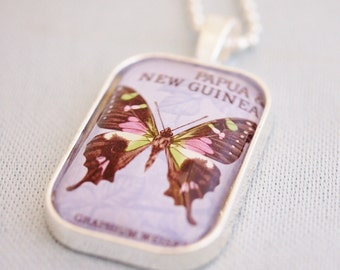 butterfly necklace, vintage postage stamp 1966 PNG, vintage stamp necklace butterfly