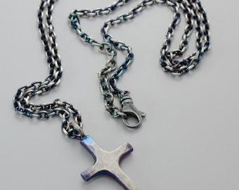 Sterling Silver Cross Necklace Cross Pendant Handmade Wild Prairie Silver Jewelry