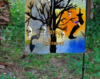 Halloween Skull and Mermaid Witch Tree Garden Flag from art