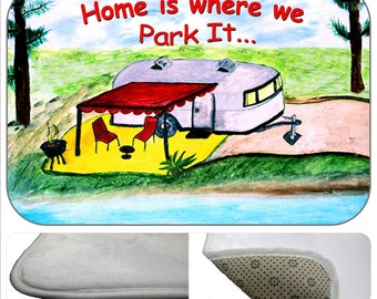 Air stream camper trailer by the lake bathmat from my art