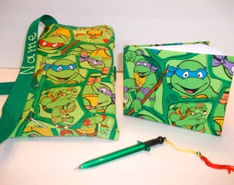 Disney Ninja Turtles autograph book bag with book and pen PERSONALIZED for FREE adjustable strap