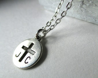 Personalized cross necklace, initial Christian jewellery, first communion confirmation necklace, Jesus Christ JC necklace