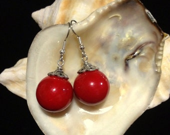 SALE >> Was 20/Now 13 big red ball earrings / red drop earrings /red earrings / Drop Earrings / Dangle earrings / round earrings