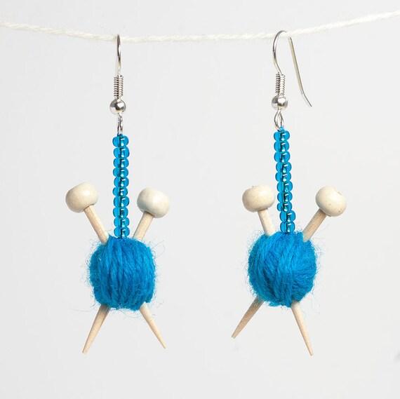 Blue Knitting Earrings - Miniature Ball of wool and knitting needles