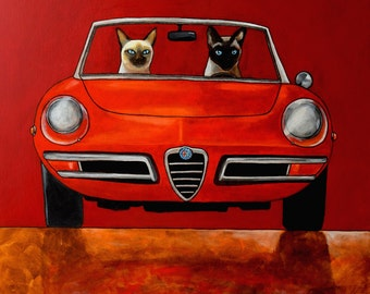 152 Alfa Giulia Spider Duetto and Siamese cats – print 14x14cm/5.5x5.5""