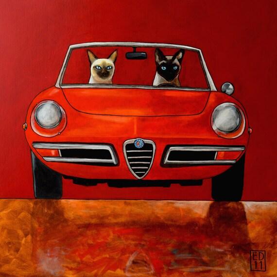 """152 Alfa Giulia Spider Duetto and Siamese cats – print 14x14cm/5.5x5.5"""""""