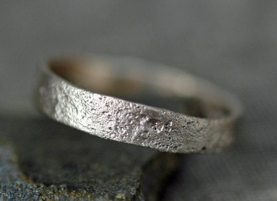 Reticulated Recycled Gold Ring- Custom Made to Order Moon Textured Wedding Band