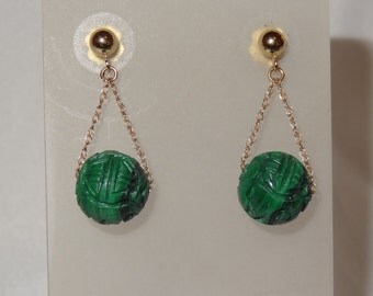 14k Yellow Gold and Malachite Ball Drop Dangle Post Earrings
