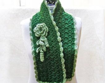 Green Crochet Scarf Pattern with Flower PDF  n60