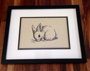 Embroidered Bunny Sketch Artwork, framed
