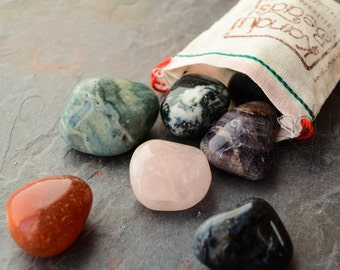 1/2 Pound Tumbled Stone Bag- Worry Stones in a recycled canvas Bag Semi Precious Gemstone Lot- Lucky Dip