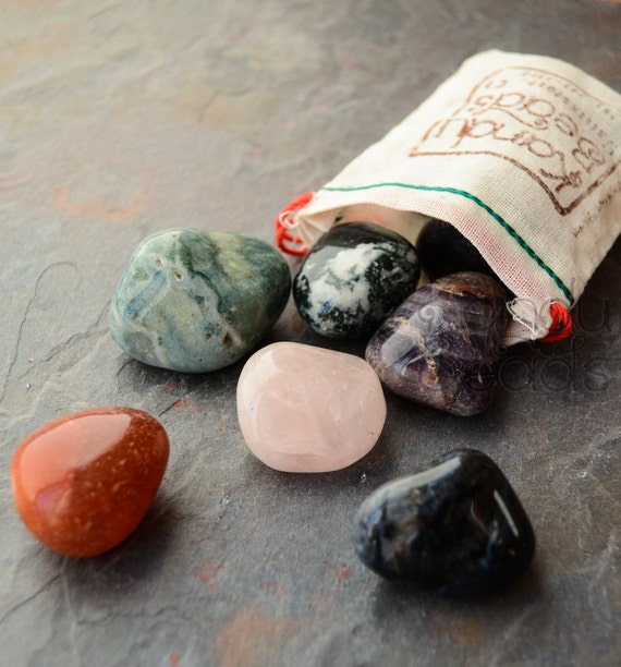 1 2 pound tumbled stone bag worry stones in a recycled canvas. Black Bedroom Furniture Sets. Home Design Ideas