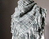 Super chunky winter scarf, knit scarf,  winter shawl, blanket scarf, grey scarf, winter wrap, fringed scarf