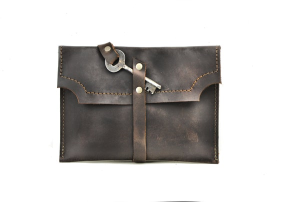 Brown Leather Clutch with Antique Skeleton Key - Mini Clutch Wallet