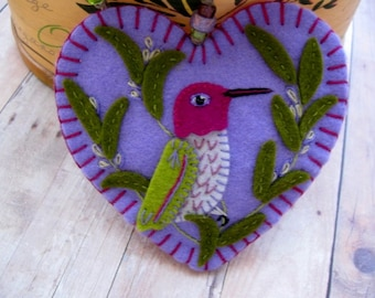 Hummingbird in Rosemary Ornament - Made to Order Embroidered Fiber Art