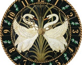 Wall Clock decorated with Swans by Walter Crane