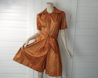 60s Orange & Gold Culottes Dress / Romper- 1960s Autumn- Hippie / Boho- Cotton- Small / Medium