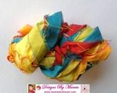 Recycled Sari Silk Ribbon Yarn, Rainbow Colored Silk Yarn, Ribbon Yarn, Knitting Ribbon Yarn, Scrapbook Ribbon, Art Yarn, Best Silk Ribbon