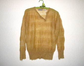 Mohair Delicate Knit Lace Sweater Small Medium, Gold Kid Mohair Pullover Jumper Vintage Liz Claiborne