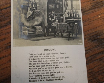 Antique Early 1900s Postcard, Daddy, Dead Mother, Photo Card, Poem