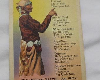 Vintage Linen Postcard, Indian Lament, Old Hosteen Yazzie, 1930s