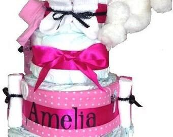 Girl Diaper Cake, Fancy Girl Pink Diaper Cake, Baby Girl Shower Gift, Diaper Cakes for girls, Diaper Cakes for girls, diaper cakes for sale