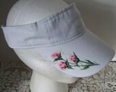 Women's Sun Sport Visor White with hand painted Rosebuds