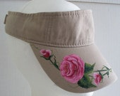 Women's Biege Visor with hand painted pink rose's