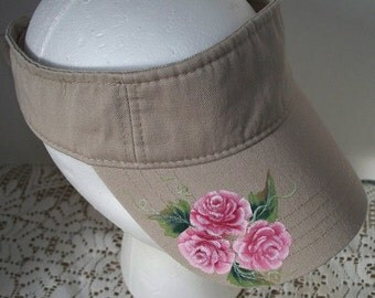 Woman's Sun Sports Visor biege with pink roses