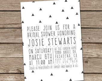 Bridal Shower Invitation : Printable Custom Aztec Tribal Triangles Invite