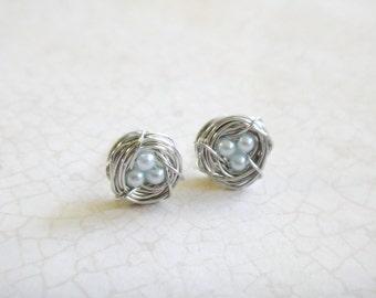 Light Blue Baby Pearl Bird's Nest Earrings