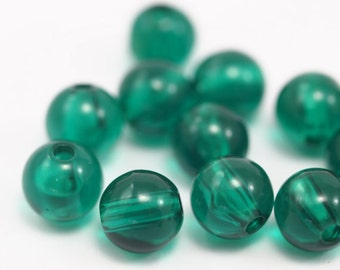 10 psc Emerald Green , Vintage German  Beads , Findings , 9 mm , Lucite Beads