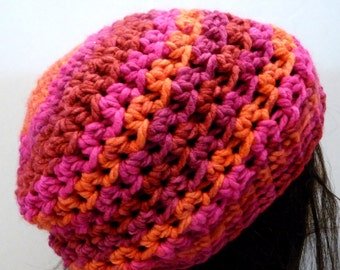 Crochet Slouchy Hat in Pink and Fuchsia for Teens and Women, Beret, Tam, Beanie, Rasta