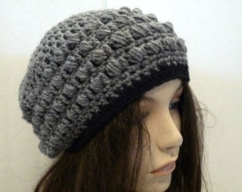 Crochet Grey and Black Slouchy Hat for Teens and Women, Beret, Tam, Rasta