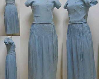 Vintage Cacharel Blue Cotton Dress