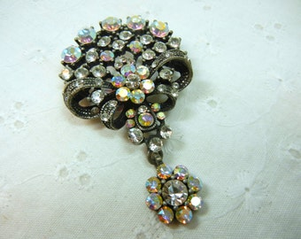 Aurora borealis rhinestone brooch / vintage pin / Flower Bow / pink and clear rhinestones / silver and black metal / nature / Mother / gift