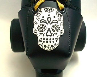 Leather Toe Guards with White Sugar Skulls