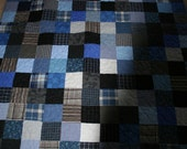 Scrappy quilt. Blues, browns and grays - Custom Made
