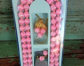 Vintage Satin Spun Pink Beaded Necklace Brooch Earrings Set New in the box