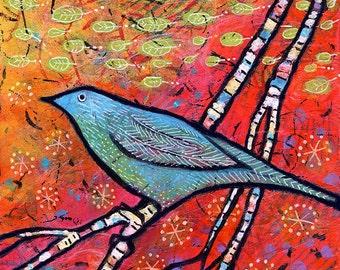 Blue Bird Canvas Print, Woodland Bird Decor by Lindy Gaskill