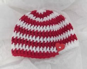 Red and White Striped Swirl Hat with Red Heart - newborn - ready to ship
