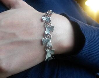 ginkgo biloba bracelet in sterling silver