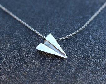 origami - paper airplane in sterling silver - handmade