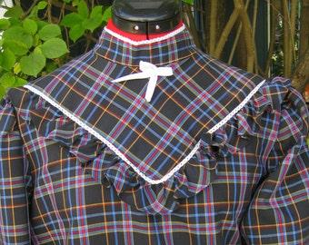 80's Plaid Shirt with Ruffled Yoke and Puff Sleeves