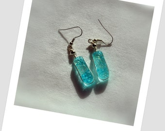 Blue bubble iridescent fused glass earrings Free Shipping
