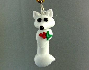 Fox Ornament - Arctic White - Lampwork Glass Creation SRA