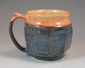 Faceted Wheel Thrown and Altered Stoneware Mug in Shino Brown and Croc Blue Glaze