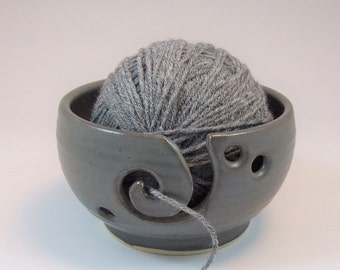 Yarn Bowl with Spiral  in Steel Gray Shino Thrown on Potter's Wheel