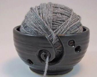Ready to ship- Wheel Thrown Yarn Bowl with Spiral in Black