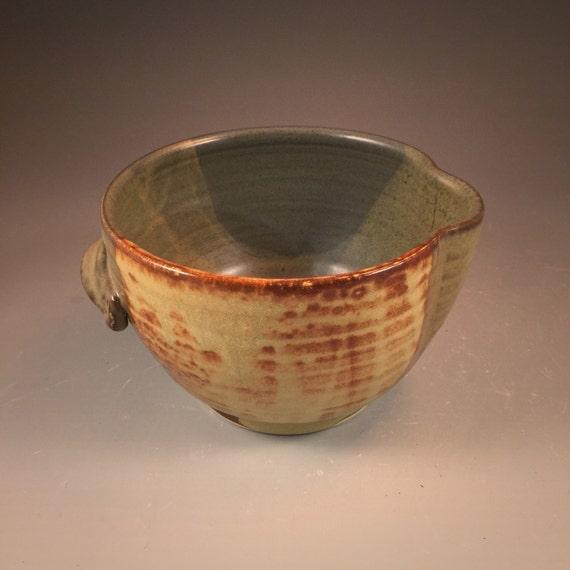 Batter Bowl in Shino and Steel Gray Shino Glaze